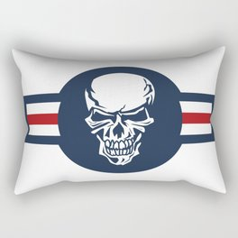Military aircraft roundel emblem with skull illustration Rectangular Pillow