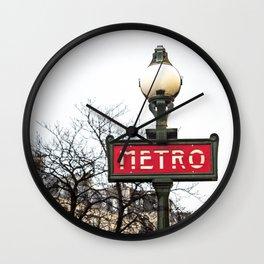 Paris Metropolitan Sign in Red Wall Clock