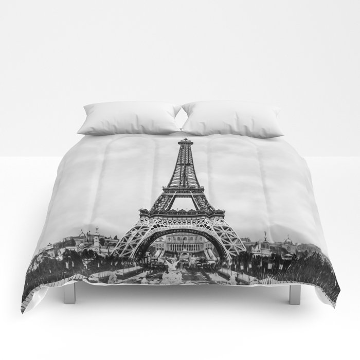 Eiffel tower, Paris France in black and white with painterly effect Comforters