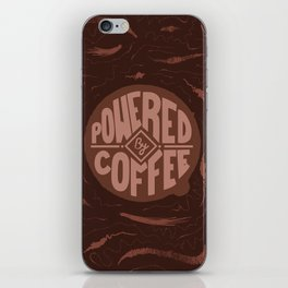 powered by coffee and swirls iPhone Skin