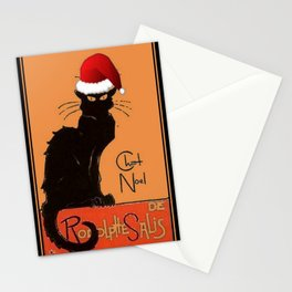Le Chat Noel Christmas Parody Grungy Distressed Vintage Cat Stationery Cards