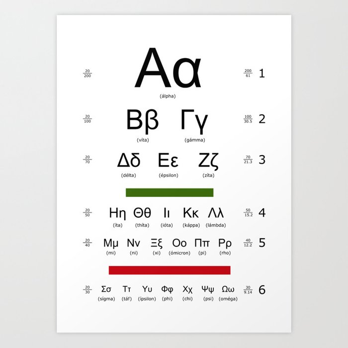 Greek alphabet optometrist Art Print by son3t