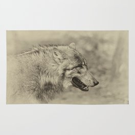 lonesome wolf Rug