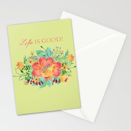 watercolour- life is good Stationery Cards