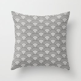 Grey Japanese Seigaiha Wave Throw Pillow