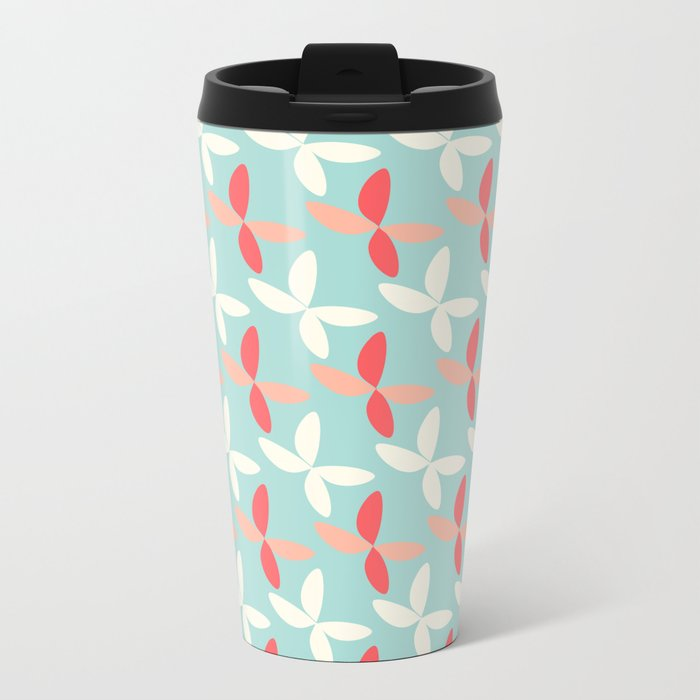butterfly pattern retro color Metal Travel Mug