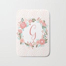 Monogram G - cute girls coral florals flower wreath, coral florals, baby girl, baby blanket Bath Mat
