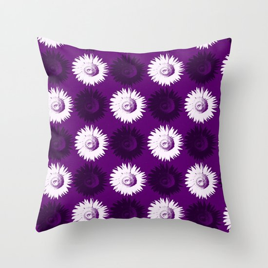 Sunflower black, white and purple Throw Pillow