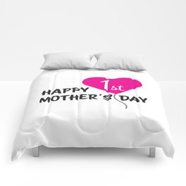 Happy First Mother's day Pink Balloon Comforters