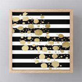 Faux Gold Paint Splatter on Black & White Stripes Framed Mini Art Print