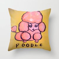 poodle Throw Pillows featuring poodle by helendeer