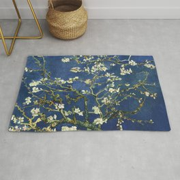 Almond Blossom - Vincent Van Gogh (dark blue) Rug