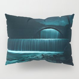 Moonlit Waterfall under Starry Skies Photographic Landscape Pillow Sham