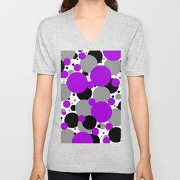 Purple Polka Dots Unisex V-Neck