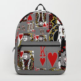 CHARCOAL GREY KING OF HEARTS CASINO PLAYING CARDS Backpack