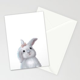 White Rabbit Girl isolated Stationery Cards