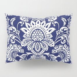 damask in white and blue Pillow Sham
