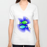 astrology V-neck T-shirts featuring Astrology, fish by Karl-Heinz Lüpke