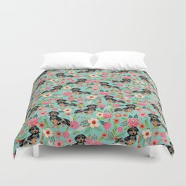 Dachshund dapple coat dog breed floral pattern must have doxie gifts dachsies Duvet Cover