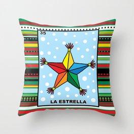 Christmas Loteria La Estrella Throw Pillow