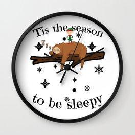 Sloth Late Sleepers Christmas Sleep Sleepy Lazy Wall Clock