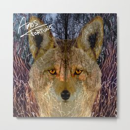 Long Night Coyote Metal Print