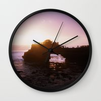 bali Wall Clocks featuring Bali Sunset by Tracy Zhang