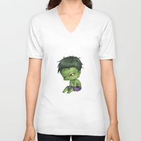 chibi V-neck T-shirts featuring Chibi Hulk by artwaste