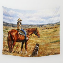 Young Cowgirl on Cattle Horse Wall Tapestry