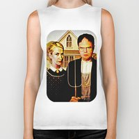 american Biker Tanks featuring Dwight Schrute & Angela Martin (The Office: American Gothic) by Silvio Ledbetter