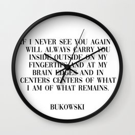 never see you - bukowski quote Wall Clock