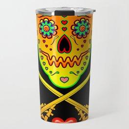 Neon Sugar Skull Drummer. Travel Mug