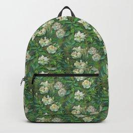 White roses, green leaves Backpack