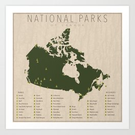 National Parks of Canada Art Print
