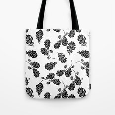 Oak Leaf linocut black and white lino illustration printmaking fall autumn winter home decor minimal Tote Bag