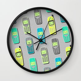 Vintage Cellphone Pattern Wall Clock