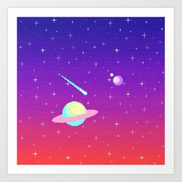 Pixelated Galaxy Art Print
