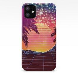 Festival vaporwave landscape with rocks and palms iPhone Case