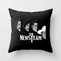 will ferrell Throw Pillows featuring The Newsteam by Buby87