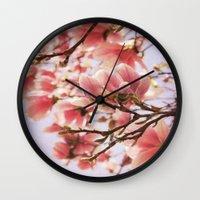 magnolia Wall Clocks featuring Magnolia  by KunstFabrik_StaticMovement Manu Jobst