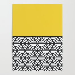 Black, White and Yellow Geo Poster