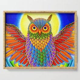 Colorful Rainbow Owl Serving Tray