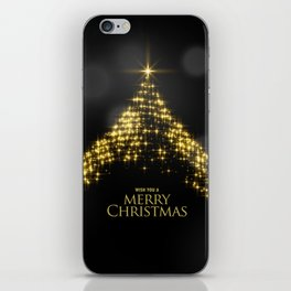 Gold Sparkle Wish You A Merry Christmas Tree iPhone Skin