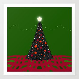 Christmas Tree with Glowing Star Art Print