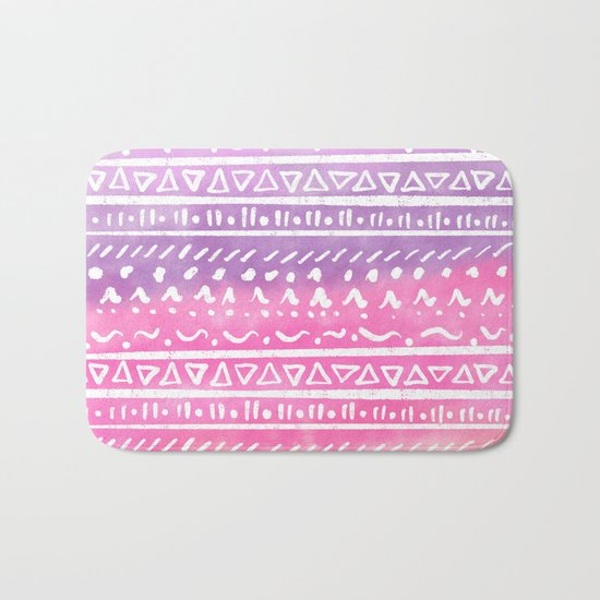 Geometric hand drawn abstract white aztec modern summer pink purple coral ombre watercolor pattern Bath Mat