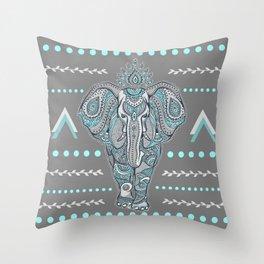 Boho Elephant , Gray Turquoise Throw Pillow