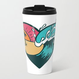 Wave Heart Metal Travel Mug