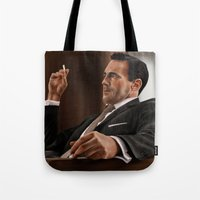 mad men Tote Bags featuring Don Draper (Mad Men) by San Fernandez
