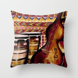 Bass and Congas Throw Pillow