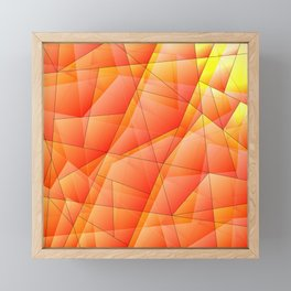 Abstract pattern of orange and overlapping plates of triangles and irregularly shaped lines. Framed Mini Art Print